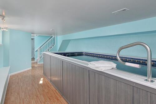 Design-build residential basement spa conversion with an endless pool with full bath