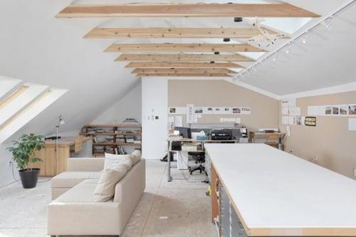 A Villanova attic converted into an amazing in-home artist's loft studio