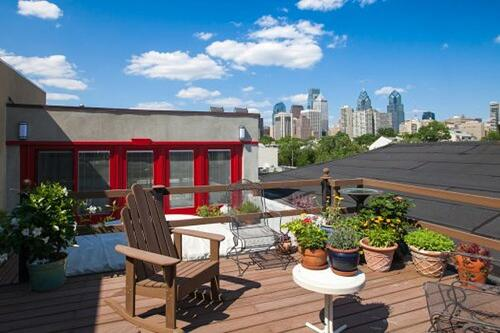 Roof Deck with Custom Glass Panels and a Skyline