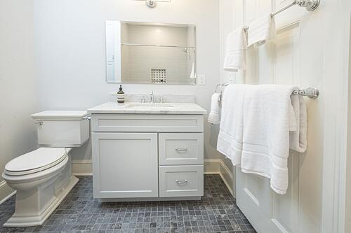 Jack and Jill bathroom renovation in historic Philadelphia home