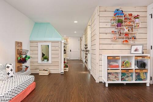 Child's dream playspace in a finished basement ideal for design-build approach