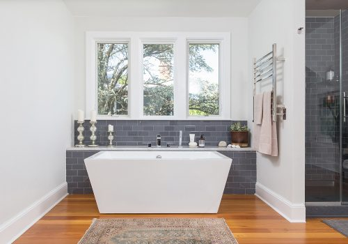 Contemporary Master Bathroom with Free-Standing Soaking Tub