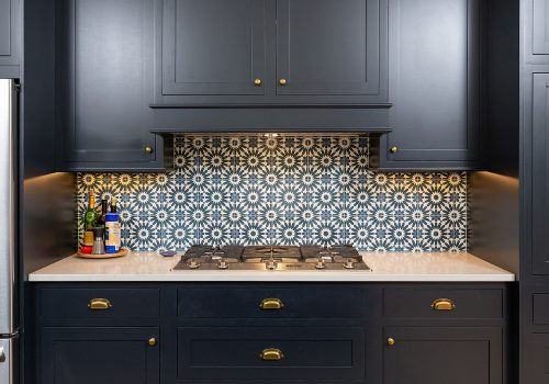Transitional Navy & Brass Kitchen