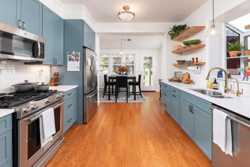 Open floor plan galley kitchen expansion