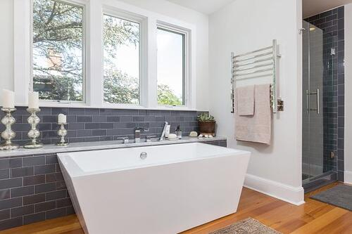 Shed dormer addition with contemporary bathroom