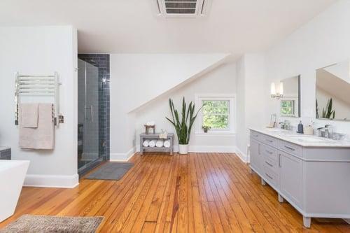 Attic dormer addition with contemporary bathroom