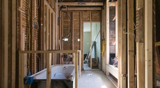 Framing construction bathroom laundry combination for design build