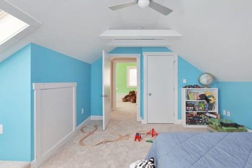 A playful kid's attic bedroom