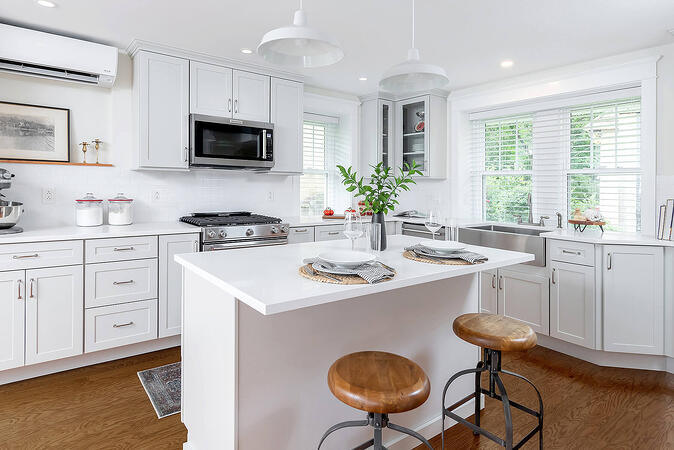Gray Cabinets with White Counters