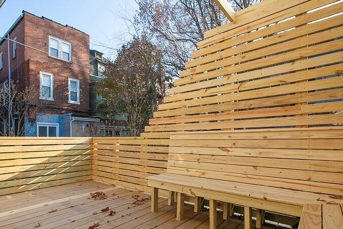Philadelphia elevated deck renovation with custom privacy screen