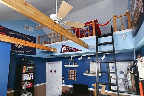 This unique lofted kid's bedroom was a design-build in Narberth, PA is a child's dream come true