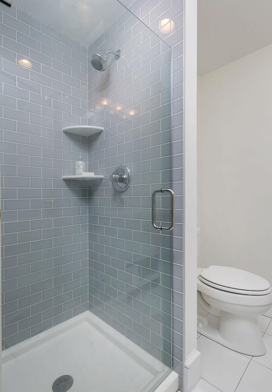 Gray Brick Shower with Glass Door