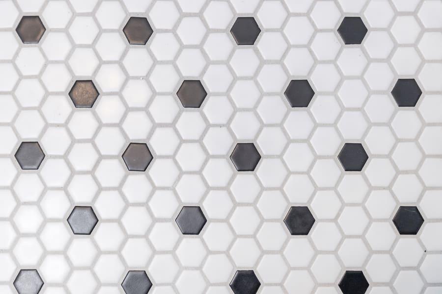 Hexagon Black and White Bathroom Tile