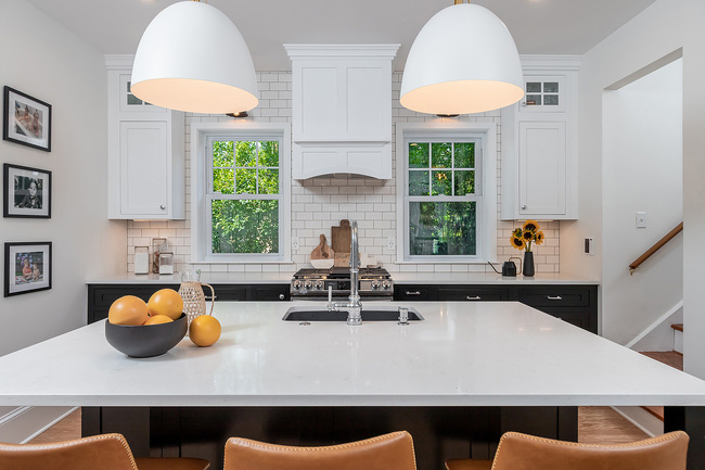 White Marble Counter Top with Oranges