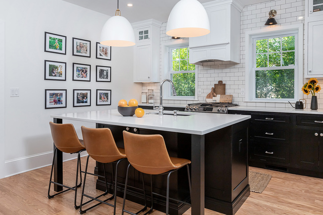 Compact Kitchen with Brown Chairs and White Counter