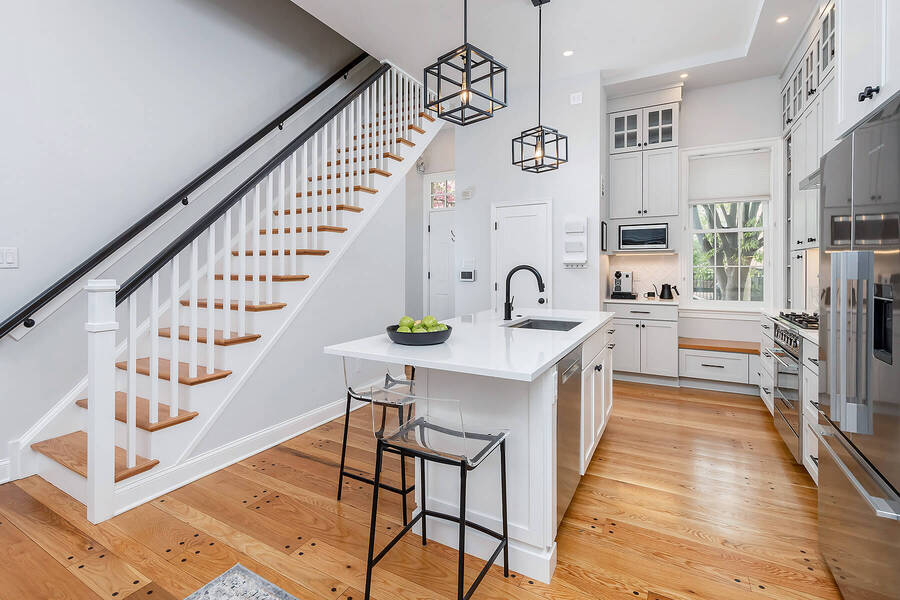 Philadelphia urban transitional kitchen with remodeled stairway by Bellweather Design-Build