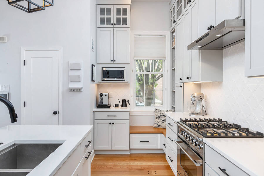 Lombard Street kitchen galley remodel in Philadelphia by Bellweather Design-Build