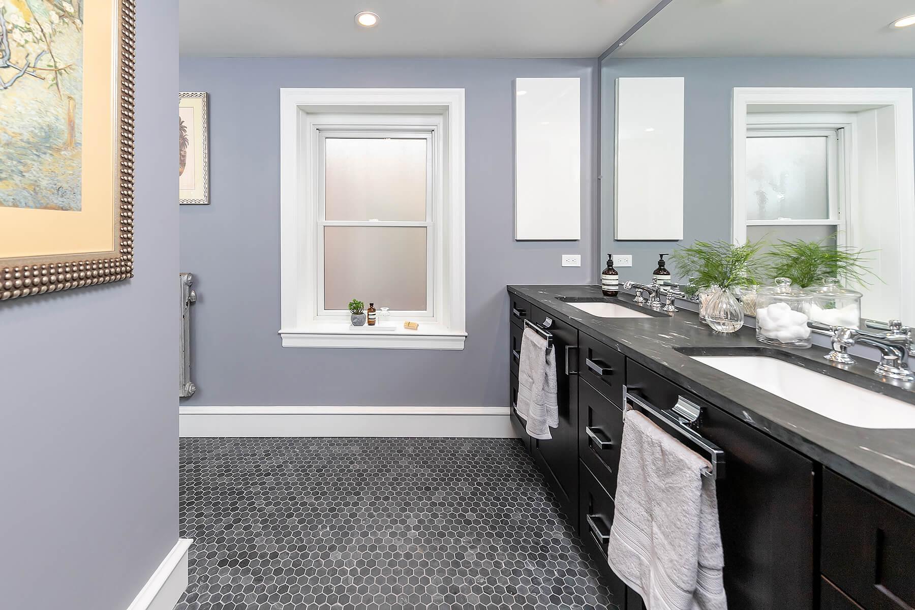 Dark Wood Sink with Gray Tile Bathroom