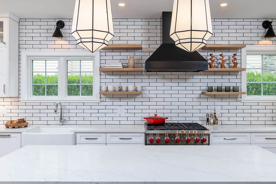 Elegant kitchen remodel with open shelving by Bellweather Design-Build