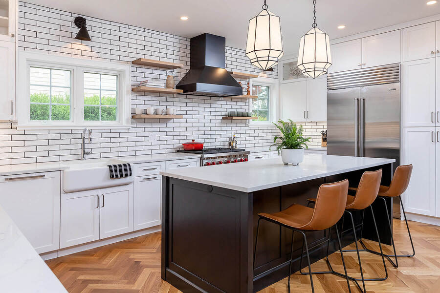 Main Line transitional kitchen remodel by Bellweather Design-Build with farmhouse tiles