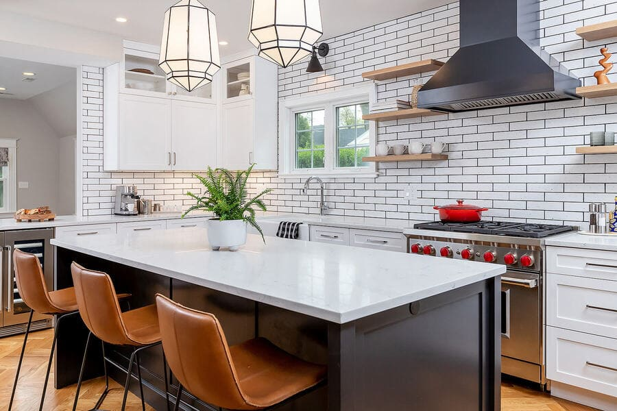 Kitchen remodel with farmhouse brick tiles from Cle Tile by Bellweather Design-Build