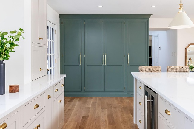 bright and airy spacious pantry tucked within a traditional brick Colonial home in Wynnewood, Pennsylvania by Bellweather Design Build