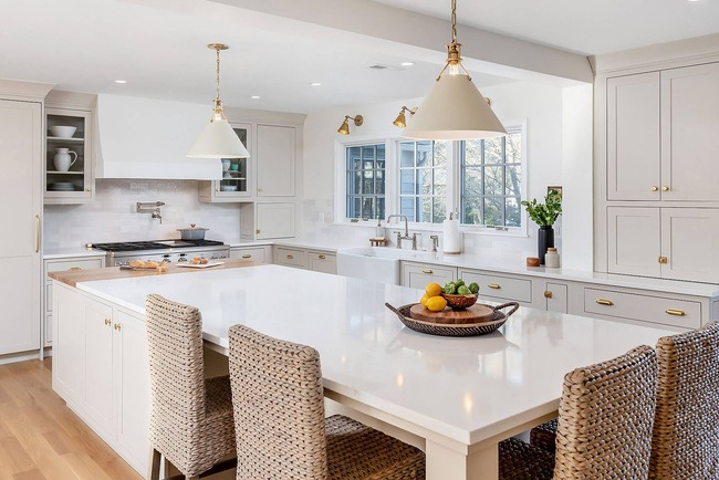 bright and airy spacious kitchen tucked within a traditional brick Colonial home in Wynnewood, Pennsylvania by Bellweather Design Build