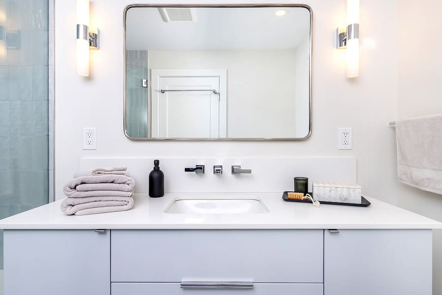 Philadelphia bathroom remodel with white transitional vanity by Bellweather Design-Build