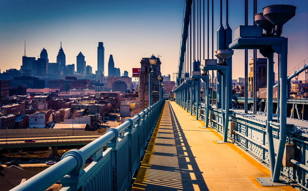 The Ben Franklin Bridge Walkway and skyline, in Philadelphia, Pennsylvania.