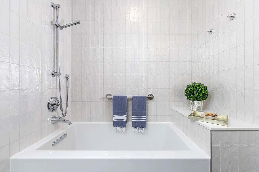 Transitional Shower Tub with Bench