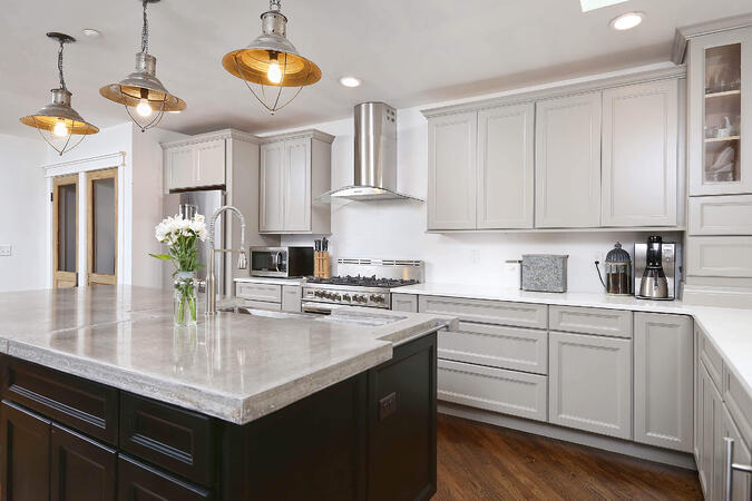 Two Toned Cabinets in Industrial Kitchen
