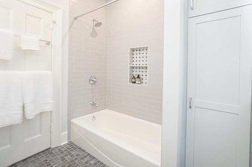 Jack and Jill bathroom renovation in historic Philadelphia home