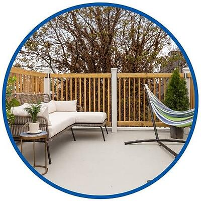 photo of rooftop deck with blue and green hammock completed by Bellweather Design Build in Philadelphia